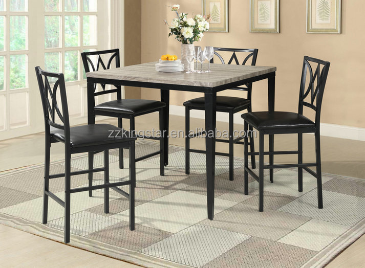 Kitchen dinner furniture square wooden top metal dining table and chairs set