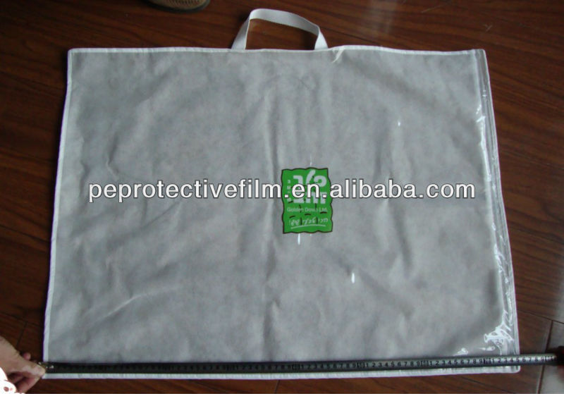 Clear PVC plastic zipper bedding packaging bag for pillows with rope handles