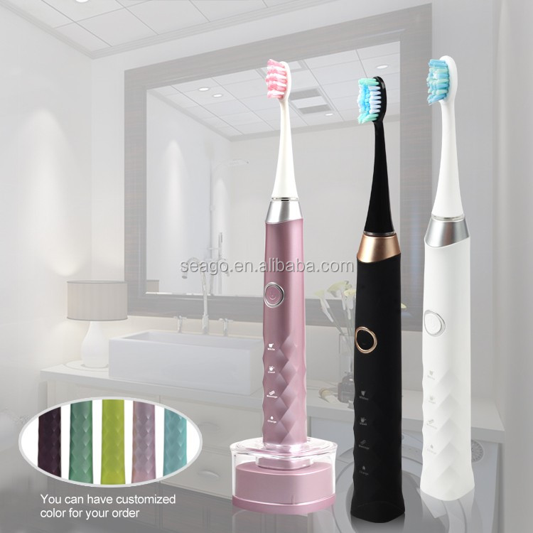 SG987 Patented IPX7 with replacement toothbrush head rechargeable Electric Sonic toothbrush