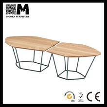 Modern fashion style irregular shape golden wire base coffee table