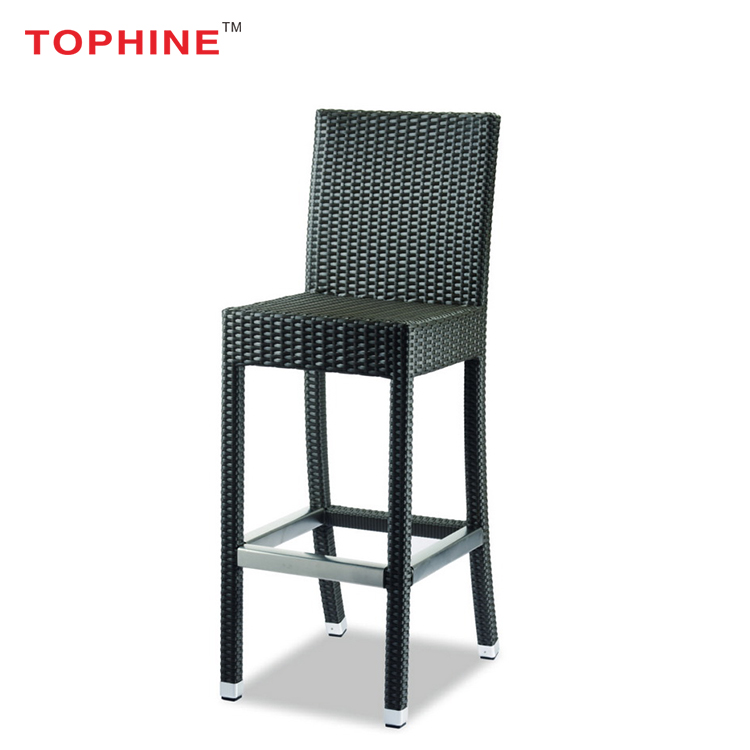 TOPHINE Furniture Modern Outdoor Wicker Rattan High Bar Chair With Backs