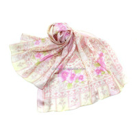 100% silk twill printed muslim scarf bright colors and soft touching