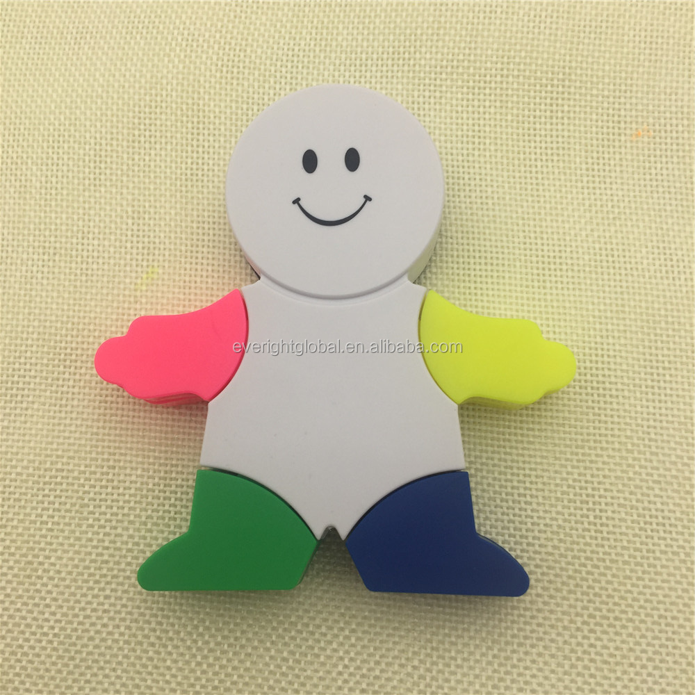 T0038 Low MOQ Multi-functional Robot shaped 4 colors highlighter pens with brush