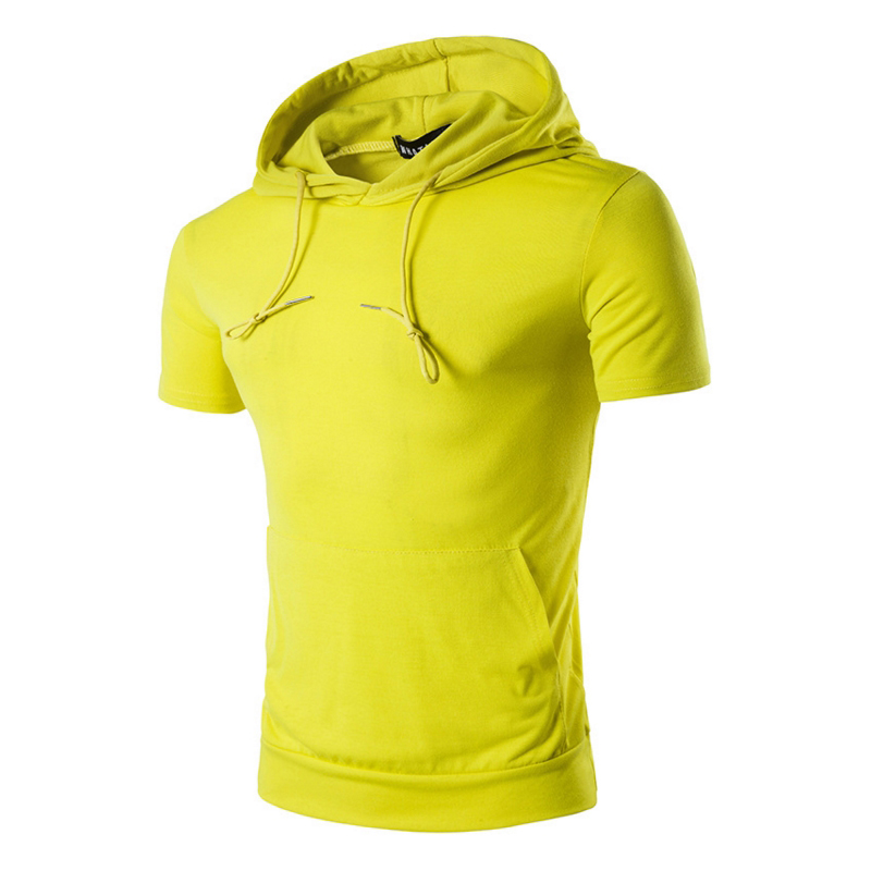 The OEM sportswear fitness custom blank mens short sleeve gym hoodie