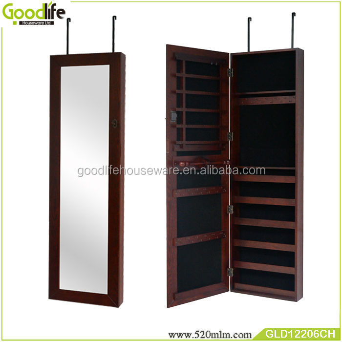Wooden wall mounted & over the door thin makeup mirror jewelry armoire
