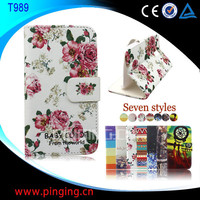 Factory Price Wholesale Beautiful Printed Wallet Stand Leather Flip Case for Samsung Galaxy S2 T989