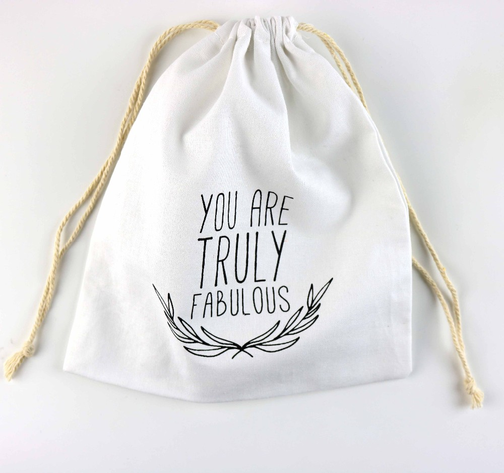 Printed logo organic cotton drawstring bags for gifts and ornaments