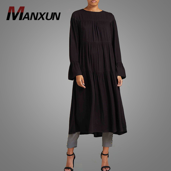 2018 New Models Muslim Latest Design Prayer Abaya Plus Size Islamic Black Tops Clothing Hotsale Long Sleeve Casual Wear