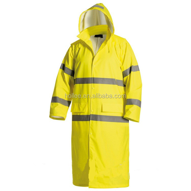 waterproof men plastic pvc yellow raincoat rainwear