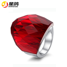 New Arrival Women Fashion Jewelry 316L Stainless Steel Ring with 3D Red/green/white 3A Zircon Large Crystal Ring for women