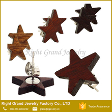 14mm Organic Natural Wood Star Earring Studs