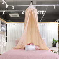 Cotton Round Dome Bed Canopy Draper Bedcover Kids Play Tent for Reading Mosquito Net Curtain