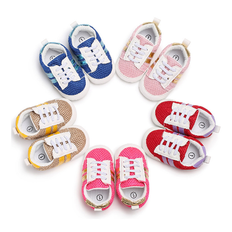 EVERTOP 2018 Wholesale Lovely Canvas Pre Walkers With Mesh <strong>Holes</strong> New Type Baby Girls Shoes