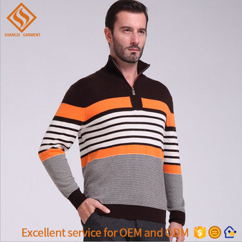 2017 latest men's shrug sweater , high neck zip 100% wool pullover sweater for men
