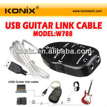 Black for Guitar to USB Interface Link Cable PC Laptop Computer Recording Studio