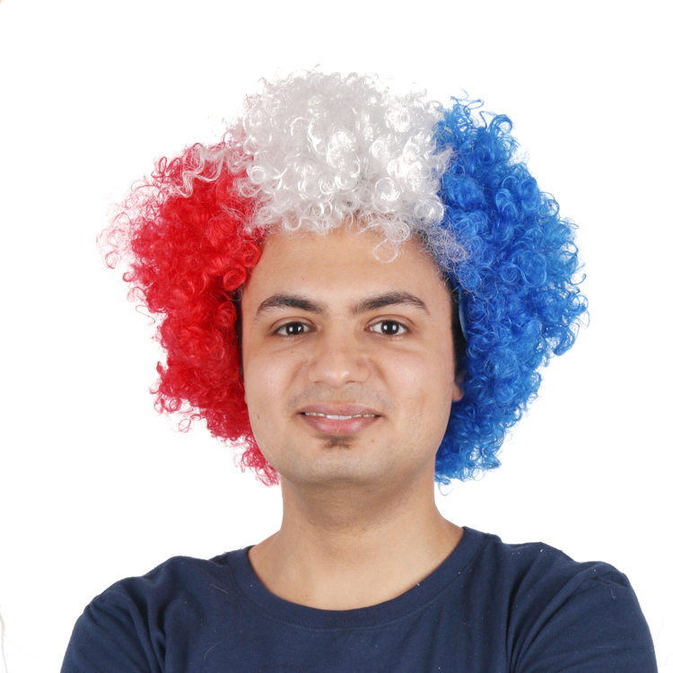 small afro synthetic france flag football sports fan wig