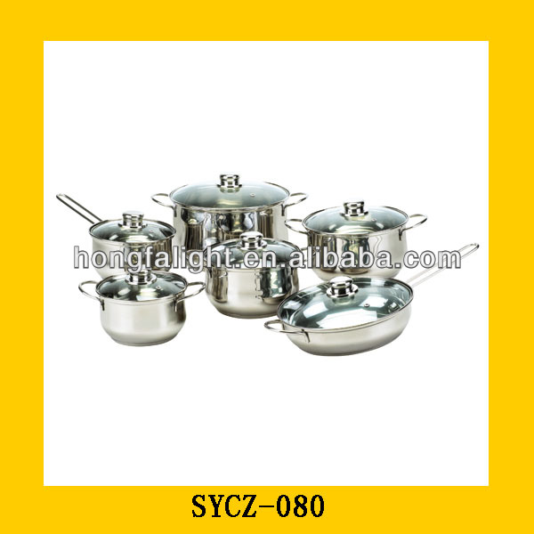 Wholesale 12pcs Stainless steel cookware set/ indian cooking pot