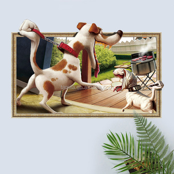 New Style 3D Cartoon Dog Window Design Removable Decoration Wall Sticker For Kids Room