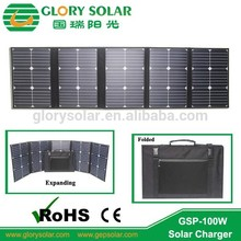 Solar Charger Bag 100W Mono Fodable Solar Panel+Dual USB Output+Waterproof Solar Cell Rechargeable Folding Bag
