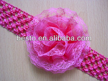 CF 0802 2014 Hot sell custom infant pink tulle organza lace flower elastic knit crochet baby headband