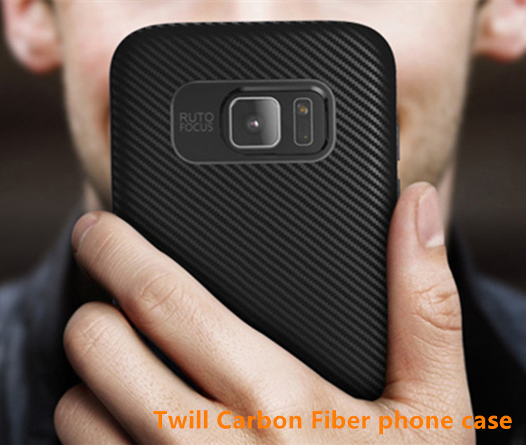 Twill Weave Carbon Fiber Cover For samsung s7edge Shockproof Back Cover phone case for Galaxy j7-2016 Metallic paint border