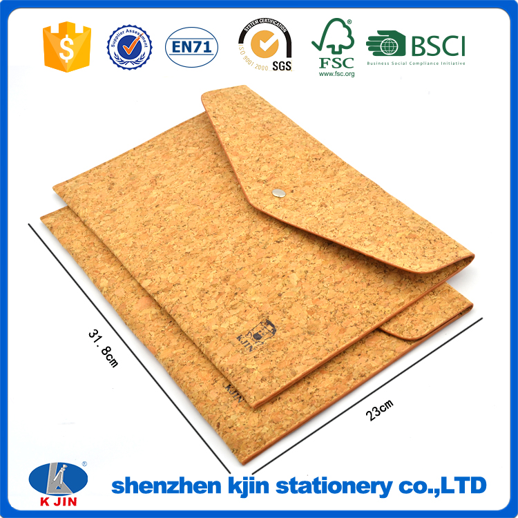 KJIN high quality eco friendly cork A4 size document folder