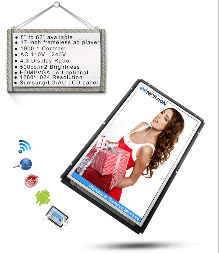 10.4 inch open frame lcd display advertising monitor