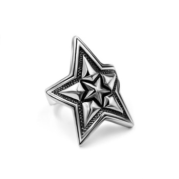 Men's Business Vintage Retro Five Pointed Star Titanium Stainless Steel Ring