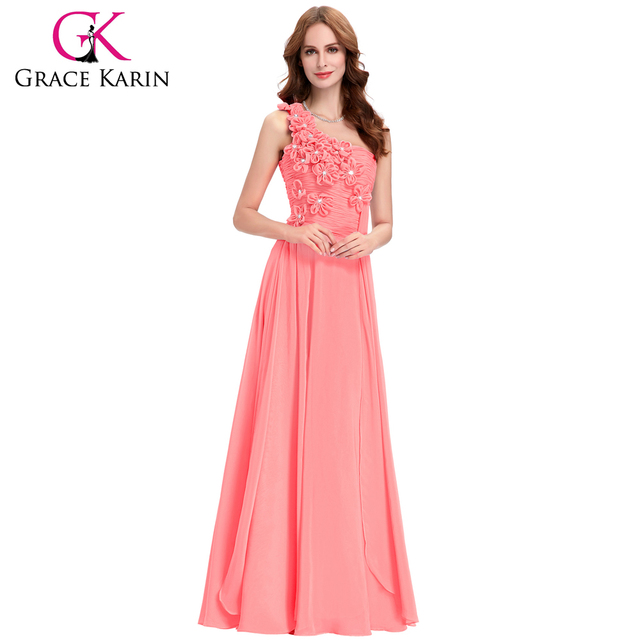 Grace Karin One shoulder Flower Decorated Floor Length Chiffon Long Bridesmaid Dresses CL4526-2