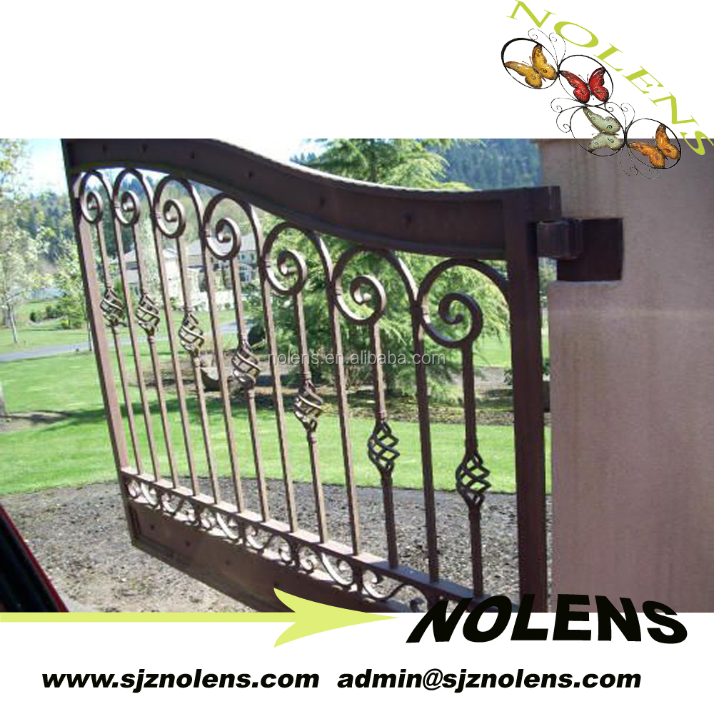 2016 latest factory cheap price simple indian wrought iron house main gate designs / mian iron gate designs