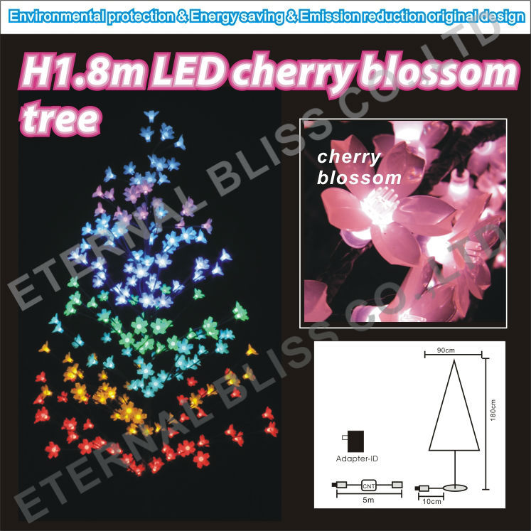 Japanese style colorful artificial led cherry blossom tree light