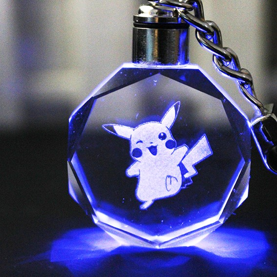 New good quality Pokemon Go Crystal Pokemon Keychain /Crystal Key Chain Keyring LED Light Pendant Gift