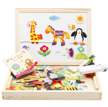 Wooden Kids Toys Magnetic Easel Dry Erase Board Puzzles Games wooden puzzle board game
