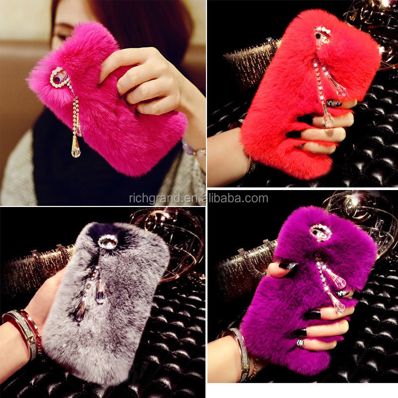 Top quality 3D Bling Crystal rhinestone Rabbit Fur Furry Warm Case Cover For iPhone 5S 6S 6 Plus