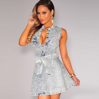 MS71231L Hot girl sexy club dress ladies v neck tunic jeans dress