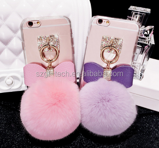 girl products warm fluffy case with clear back cover for iphone 8 case,cute rabbit fur case for iphone 7 accessories