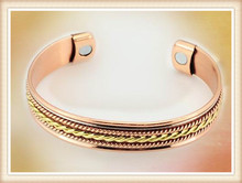 High quality Cheap two tone expandable braided copper magnetic bracelet wholesale