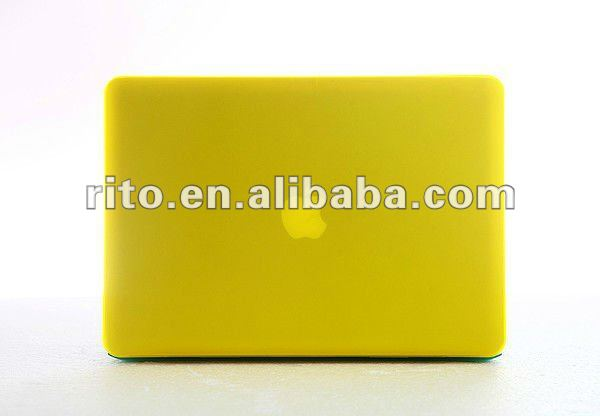 "New Design of Matte Surface Yellow Color Silicone Hard Case for Mac Pro 15"" with Retina, OEM is Preferred"