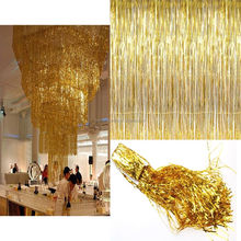 2M/ 3M Metallic Shimmer Tinsel Foil Fringe Curtain For Wedding/ Party Decors