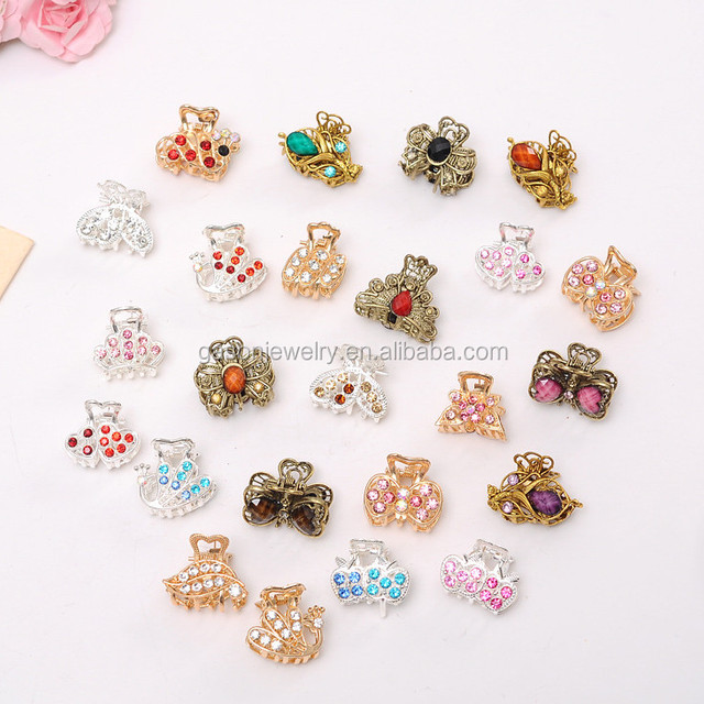 vintage alloy rhinestone metal small mini crystal hair accessories hair claw clip