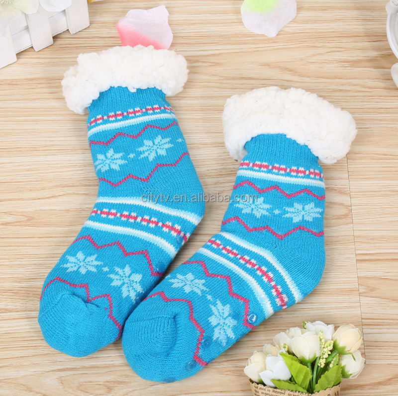 Wholesale Winter Women Snow Pattern Knit Slip <strong>Resistance</strong> Warm Fuzzy Socks