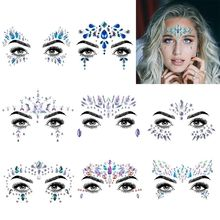 2019 hot selling Body Tattoo Self Adhesive Face Crystal Jewels And Crystal Eye Sticker