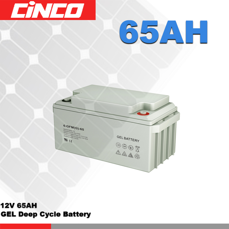 12V 65AH Deep Cycle GEL solar energy storage battery bank