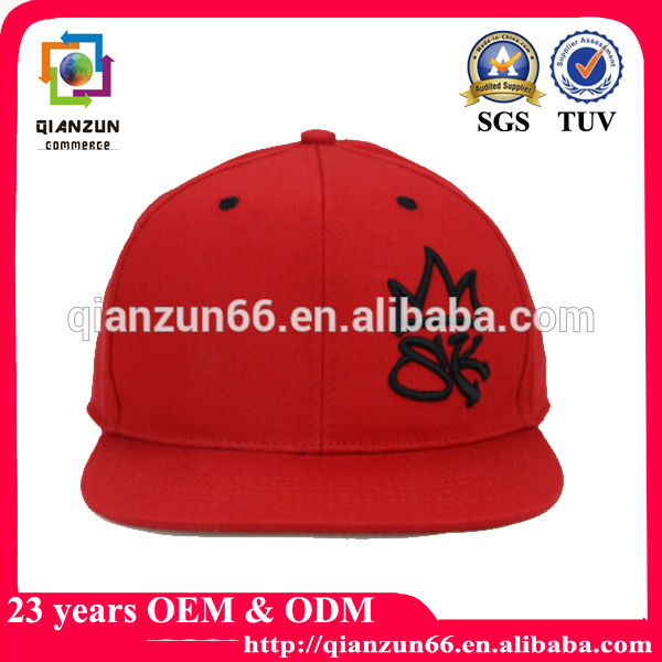 Linen fabric embroidery red 5 panel snapback hat