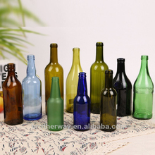 wholesale empty 500ml 750ml amber glass wine bottle with wooden cork
