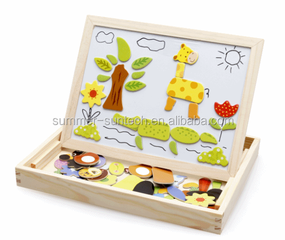 High quality custome wooden puzzle Many Shape Wooden Magnetic Jigsaw Puzzle for Kids with custom printed