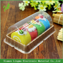 2016 new customized rectangle cake plastic box packaging with clear lids