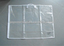 clear plastic PE pillow bag with rope handles and zipper