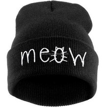 Fashion MEOW Cap Men Casual Hip-Hop Hats Knitted Wool Skullies Beanie Hat Warm Winter Hat for Women Drop Shipping 2016 New