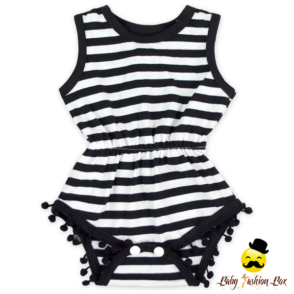 Unisex Summer Sleeveless Black And White Striped Infant Baby Pom Pom Romper Bodysuit Leotard